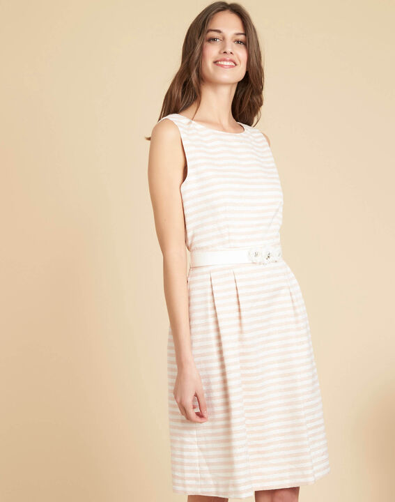 Irina chalk-coloured floral dress with stripes and belt (3) - 1-2-3