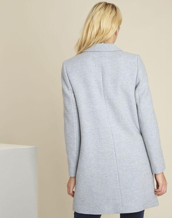 Eclat azure blue cross-over wool coat (4) - 1-2-3