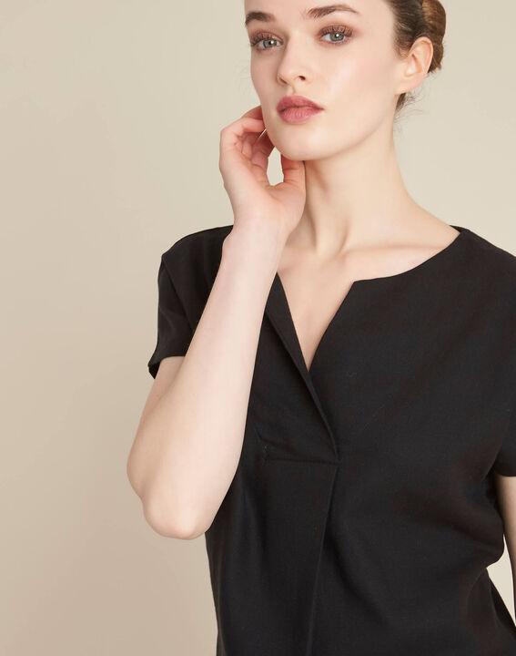 Gaia V-neck black dual-fabric top PhotoZ | 1-2-3