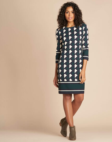 Delila pine green graphic print dress (2) - 1-2-3