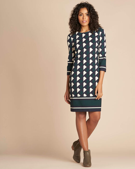 Delila pine green graphic print dress (1) - 1-2-3