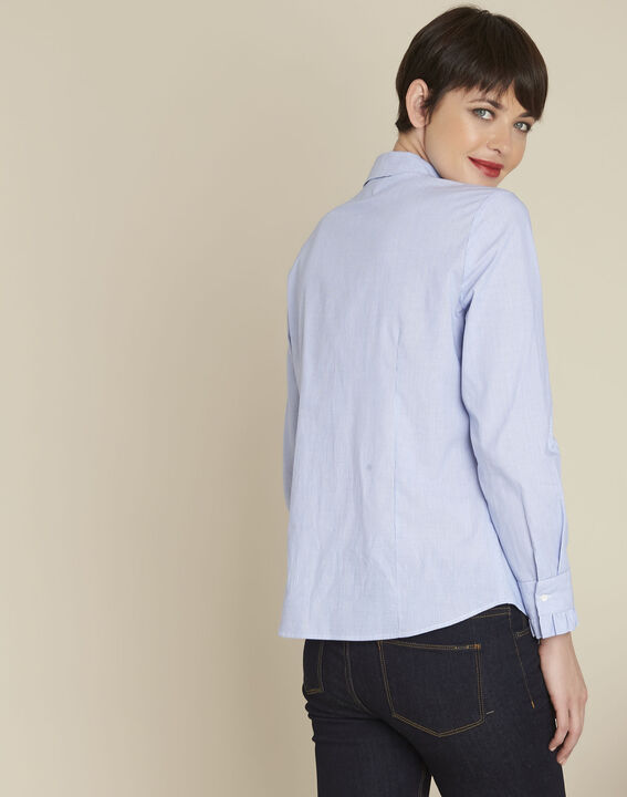 Come blue striped blouse with ruffles (4) - 1-2-3