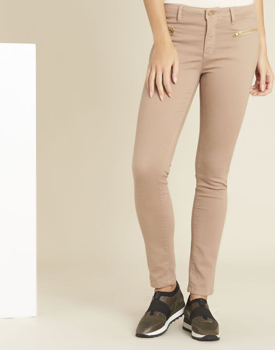 Germain pink straight-cut jeans with zipped pockets PhotoZ | 1-2-3