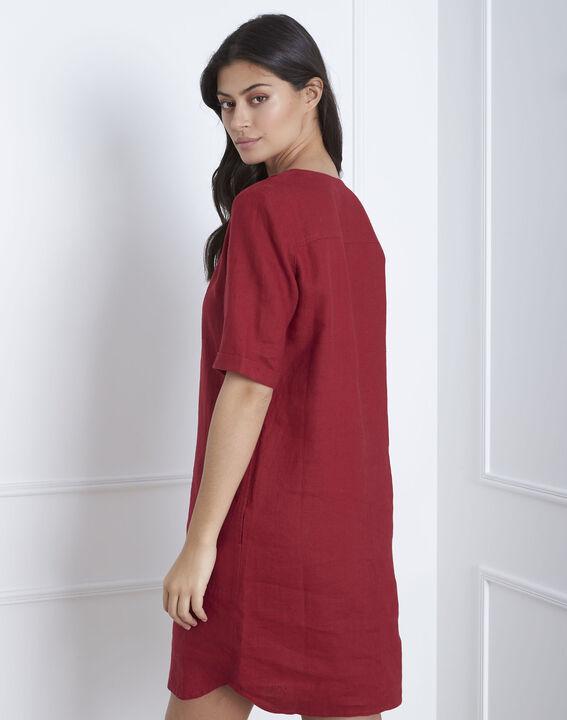 Robe rouge en lin Loanne (4) - Maison 123