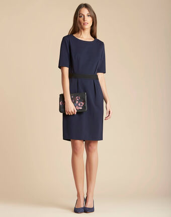 Pam belted navy blue dress navy.
