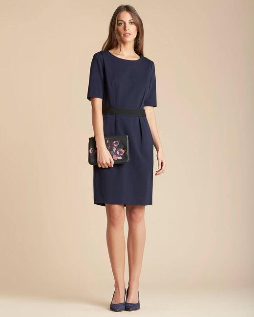 Marineblaues tailliertes Kleid mit Gürtel Pam (1) - 1-2-3