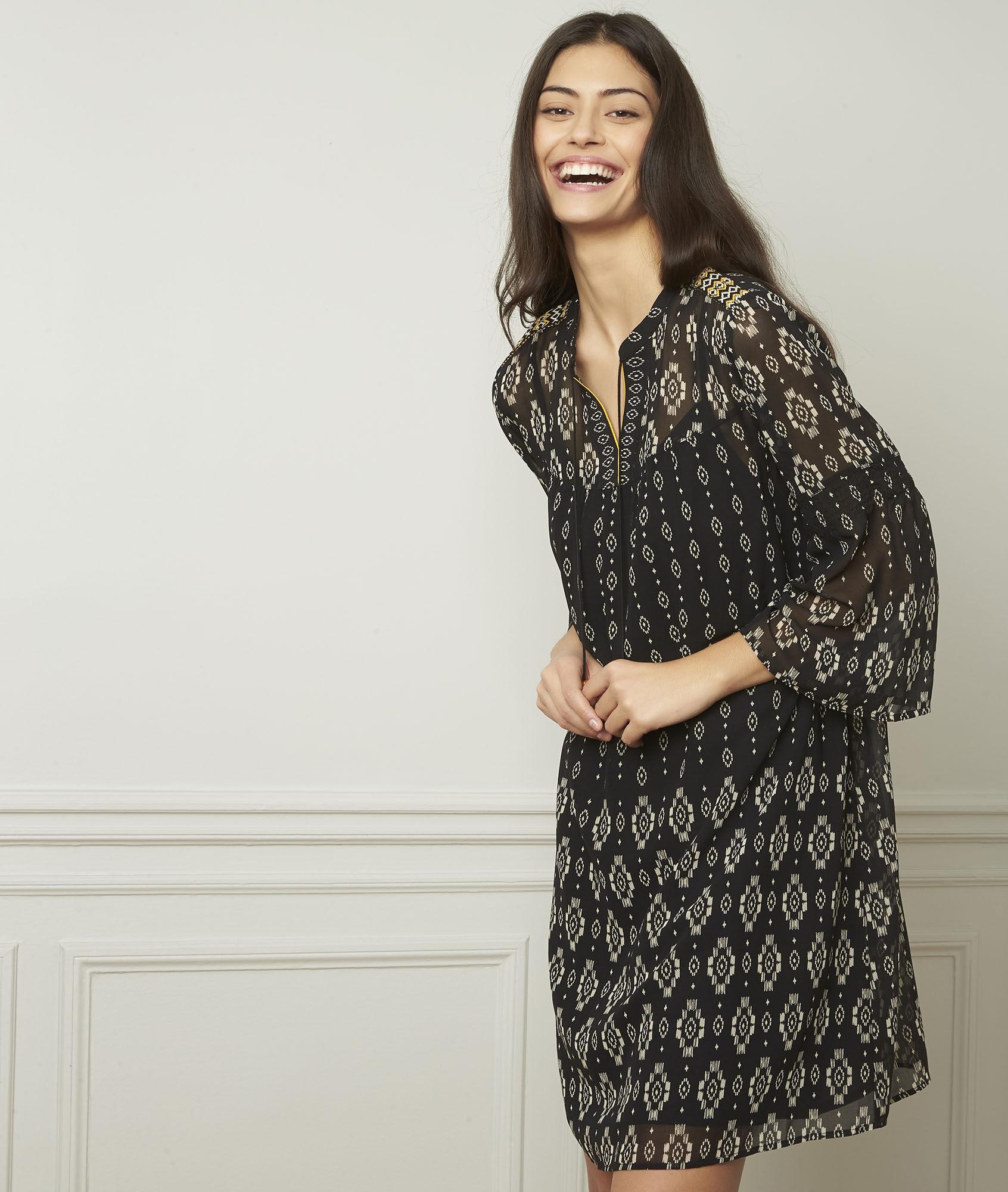 3a10844ec8b Robe noire motifs fantaisie Loise - Maison Cent Vingt-Trois