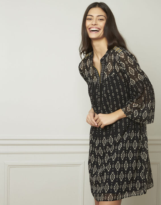 Zwarte jurk met fantasiemotieven Loise PhotoZ | 1-2-3