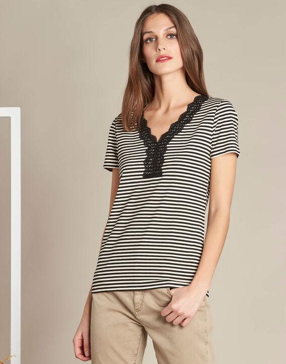 Emoi striped ecru T-shirt with lace neckline (4) - 1-2-3