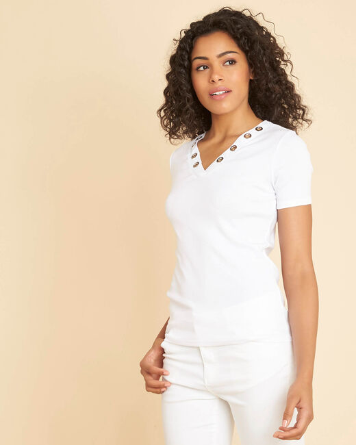 Tee-shirt blanc encolure en V oeillets Basic (2) - 1-2-3