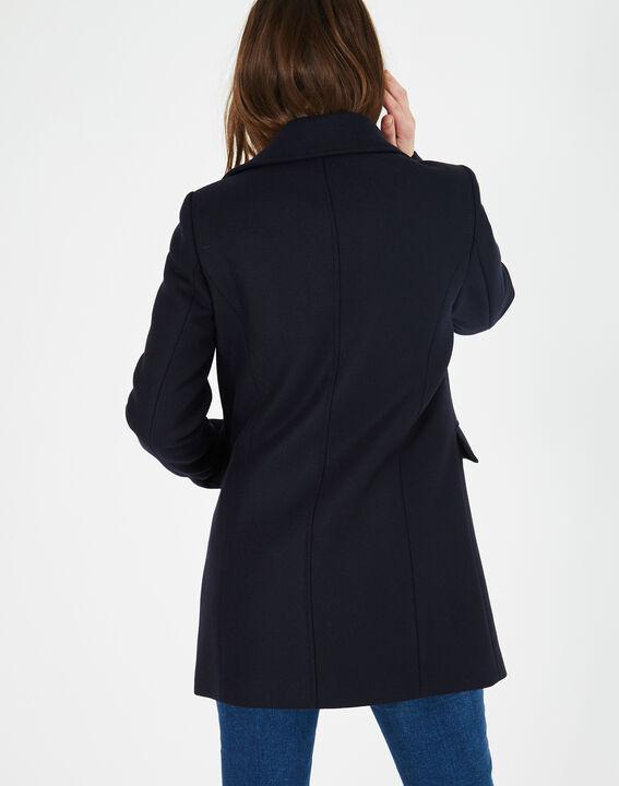 Manteau bleu marine en laine mélangée Oryanne (5) - 1-2-3