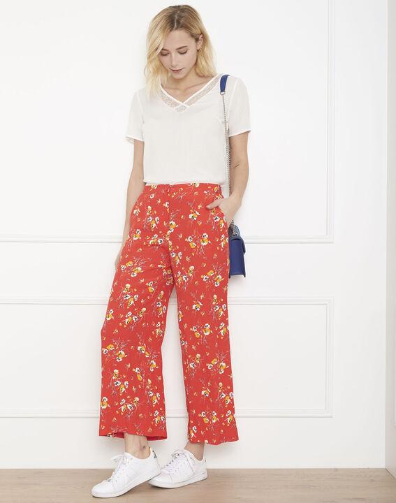 Pantalon rouge large imprimé fleuri Gigi (2) - Maison 123