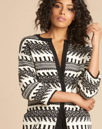 Navajo black and white knit jacket black/white.