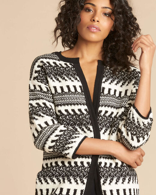Navajo black and white knit jacket (2) - 1-2-3