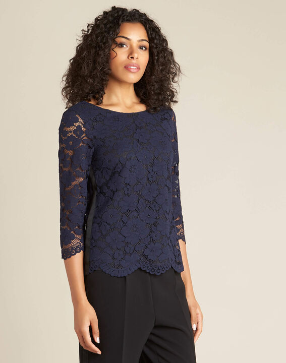 Geraldine navy blue lace blouse (3) - 1-2-3