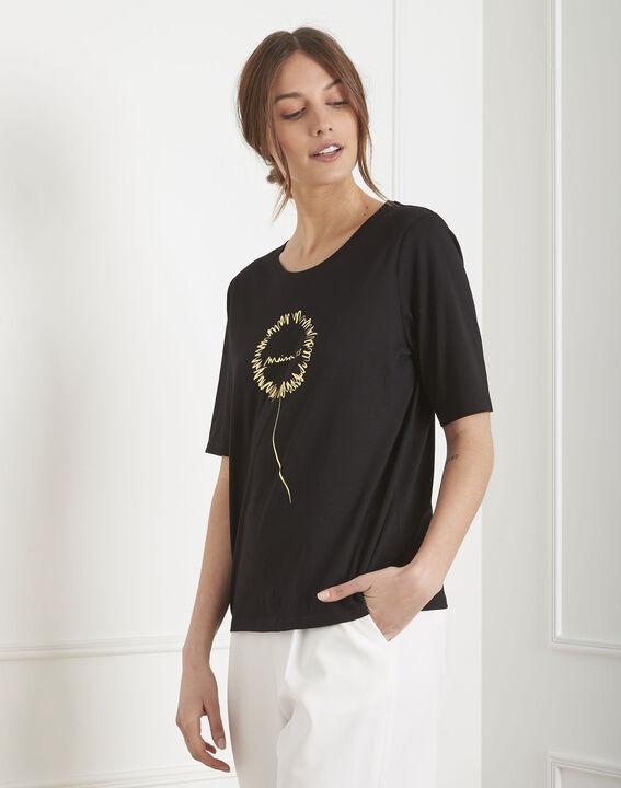 Tee-shirt noir motif floral Palais PhotoZ | 1-2-3