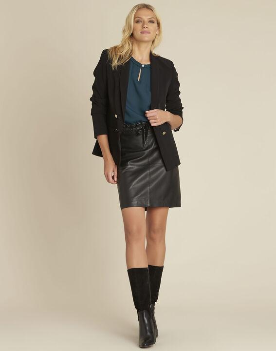 Jupe noire en cuir lisse Atila (2) - Maison 123