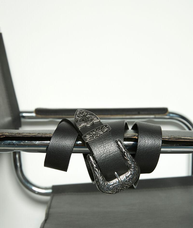 Ceinture western en cuir lisse noir Sharleen Bis PhotoZ | 1-2-3