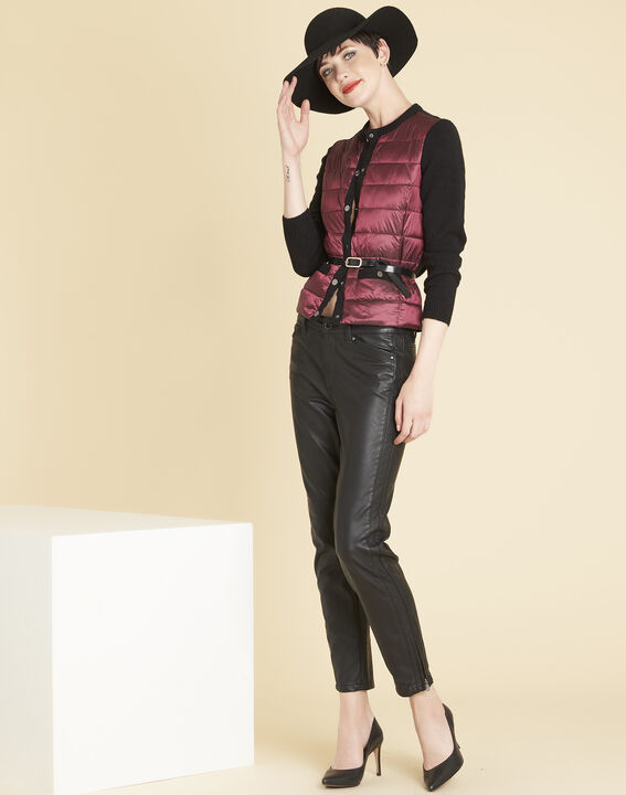 Snow red quilted dual-fabric jacket (2) - Maison 123