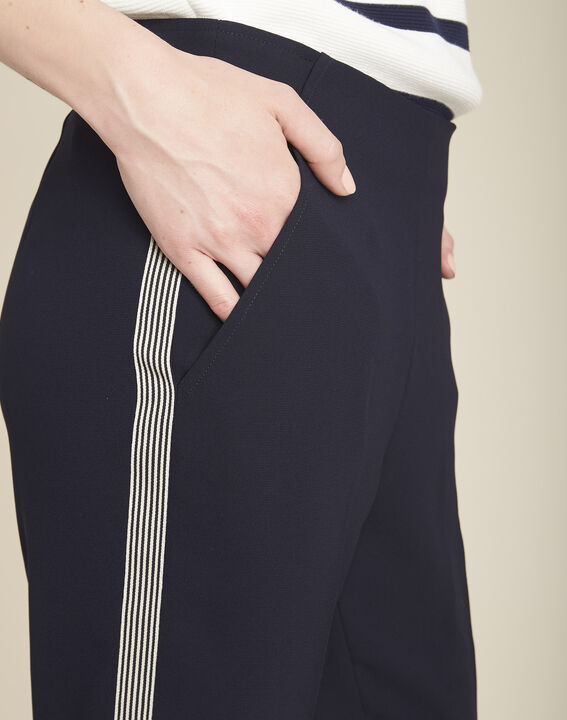 Saxe navy blue trousers with lateral crêpe strip (3) - 1-2-3