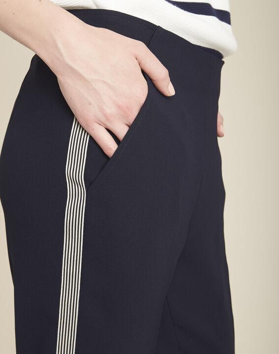 Marineblauwe broek van crêpe met zijstrook Saxe (3) - 37653