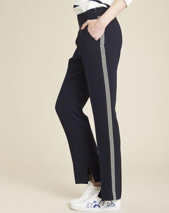 Pantalon marine en crepe bande latérale saxe marine.