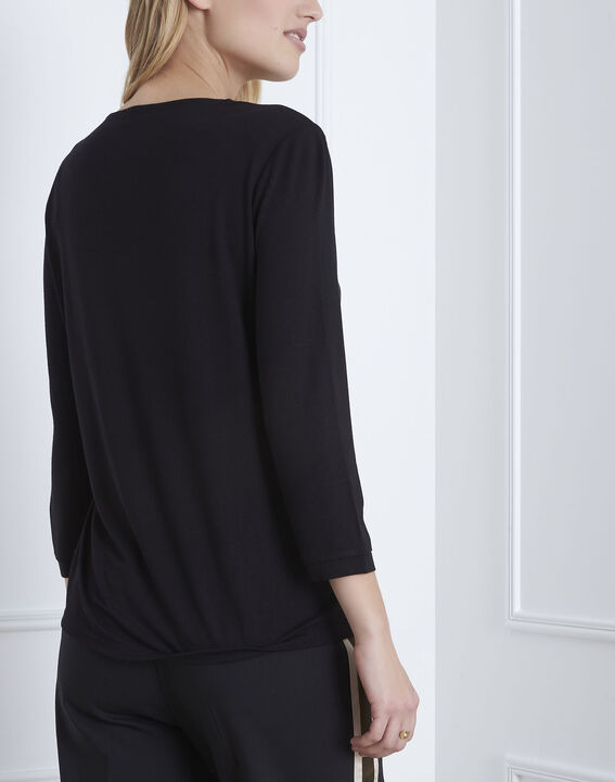 Schwarze Bluse aus Bimaterial in Wickel-Optik  (4) - Maison 123