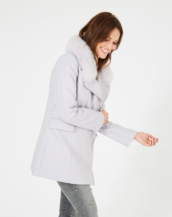 Oryanne pearly grey wool-blend coat with fur collar light grey.