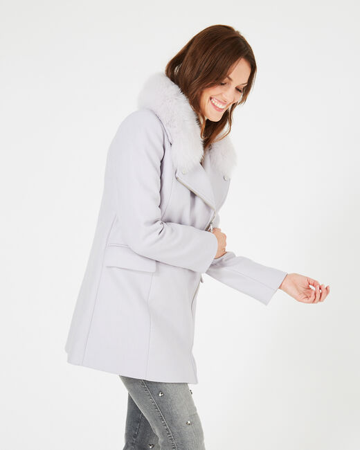 Oryanne pearly grey wool-blend coat with fur collar (1) - 1-2-3