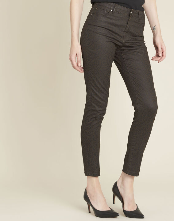 Anthrazitfarbene Slim Jeans mit Leopardenmotiv Vendome PhotoZ | 1-2-3