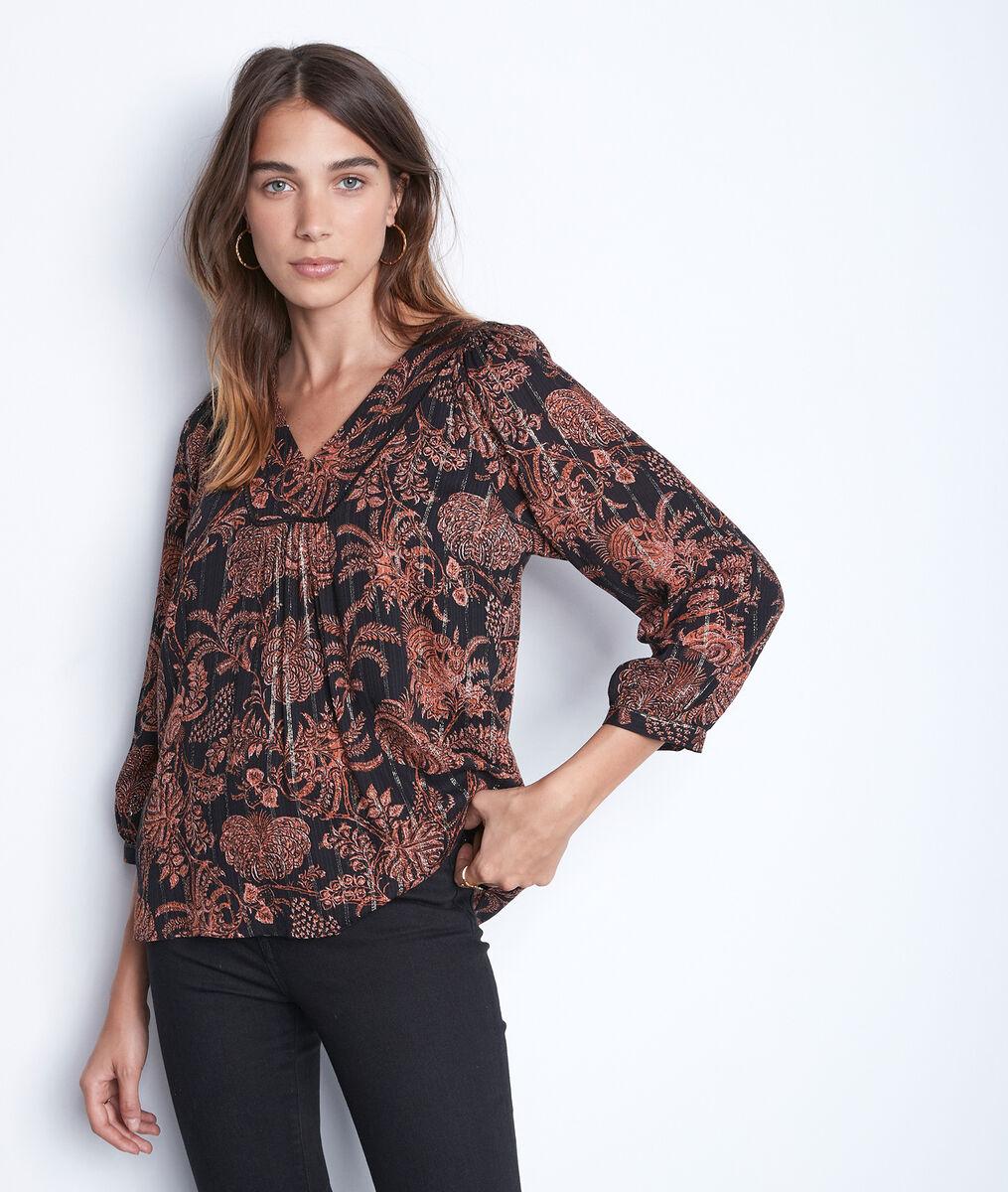 Soepele blouse met zwarte en oranje print Tolly PhotoZ | 1-2-3
