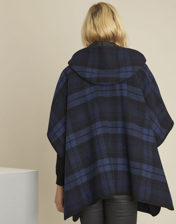 Perrine navy cape with tartan motif (4) - 1-2-3