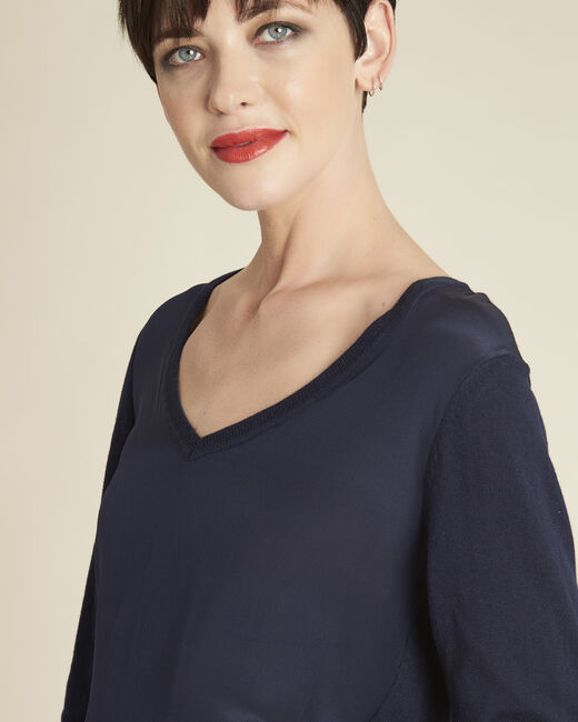 Bliss navy blue dual-fabric sweater in cotton and silk with V-neckline (2) - 1-2-3