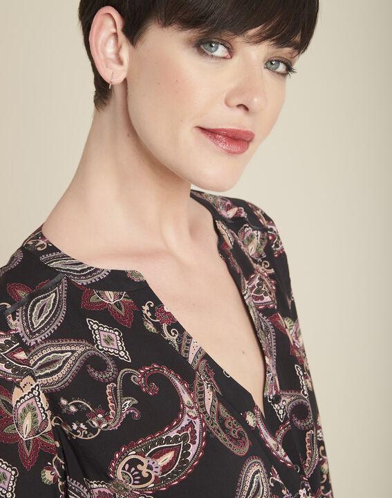Zwarte blouse met kasjmierprint Arletty (3) - 37653