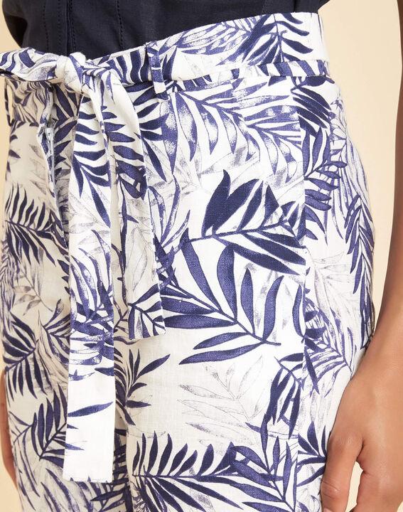 Pantalon cigarette marine imprimé palme en lin Jill PhotoZ | 1-2-3