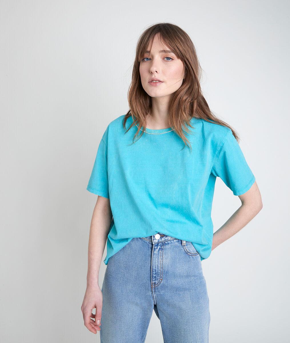 Tee-shirt en coton biologique turquoise à strass Inox PhotoZ | 1-2-3