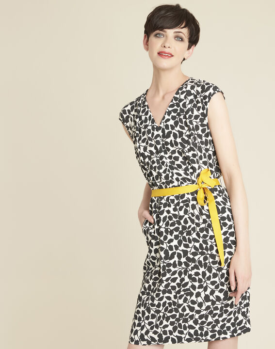 Dallas leaf-print dress with grosgrain belt PhotoZ | 1-2-3