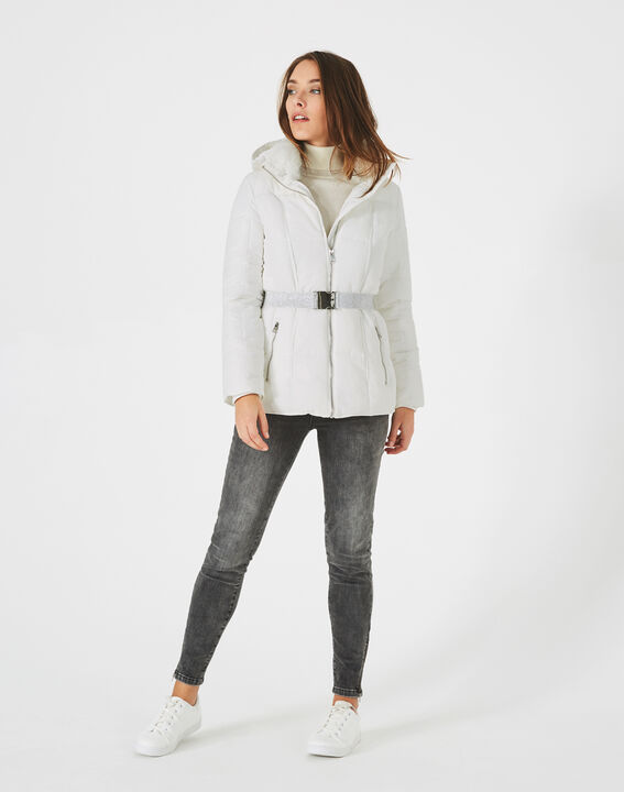 Livia white puffer jacket with a belt (2) - 1-2-3