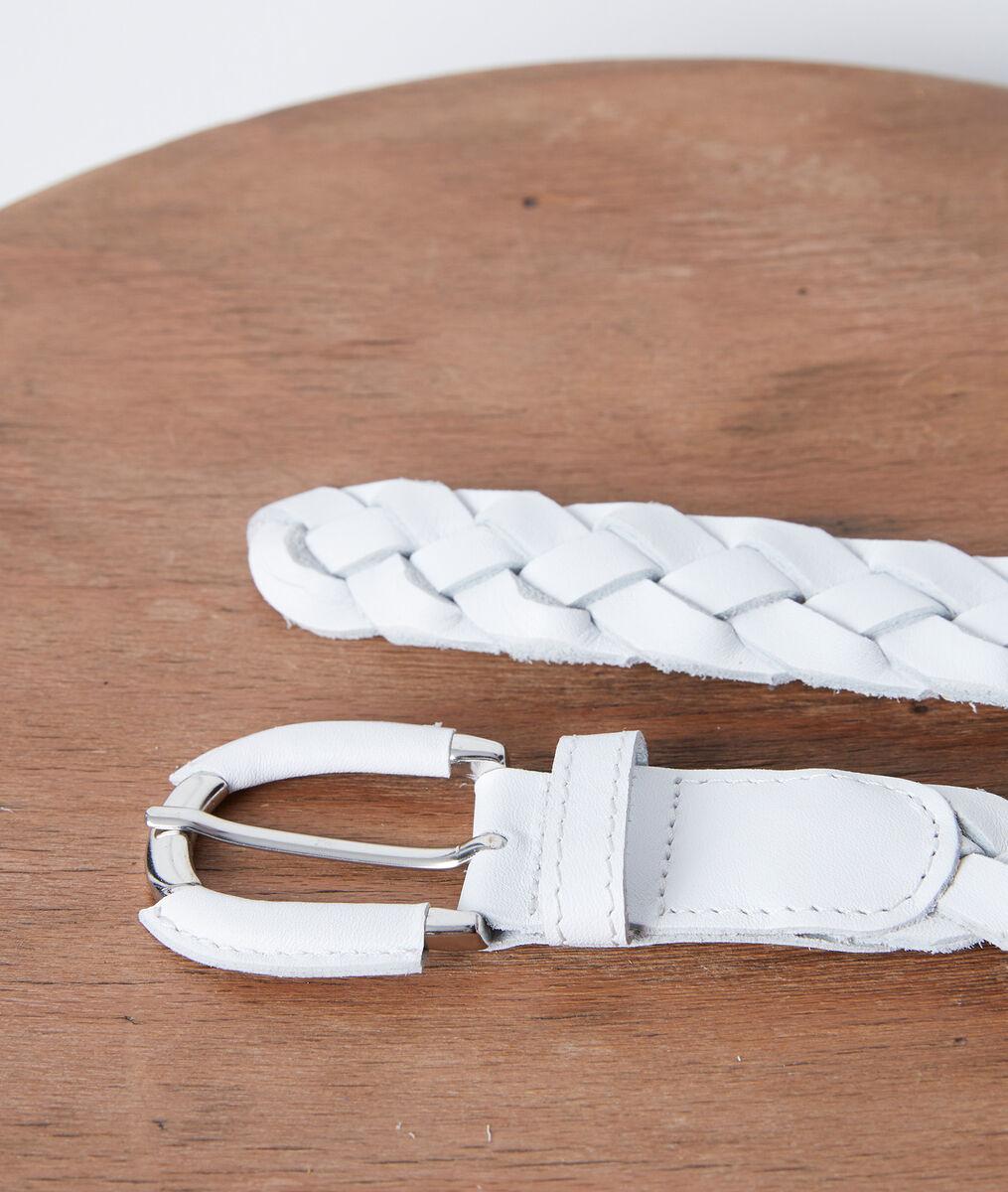 Ceinture tressée en cuir blanche Swan PhotoZ | 1-2-3
