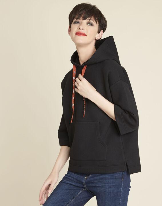 Grale black hooded sweatshirt with jewelled lacing PhotoZ | 1-2-3