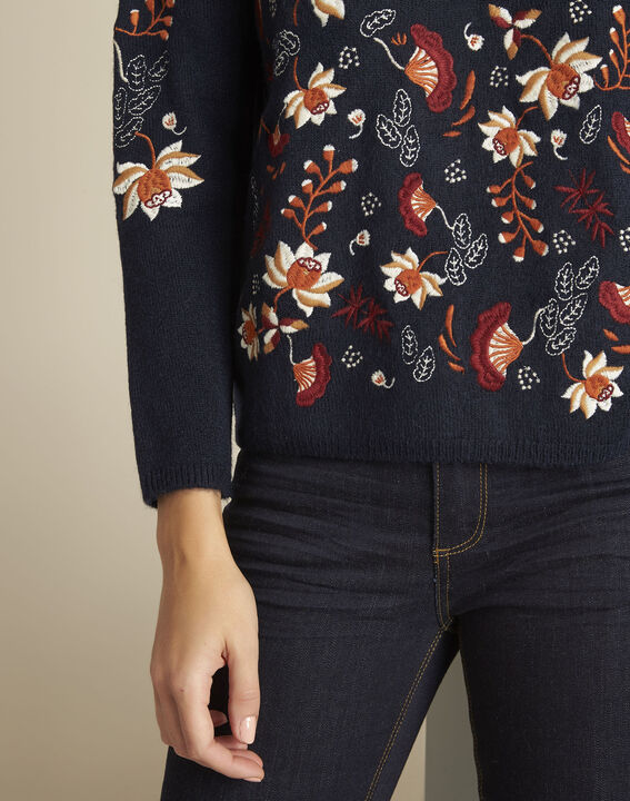 Bogota navy embroidered pullover (3) - Maison 123