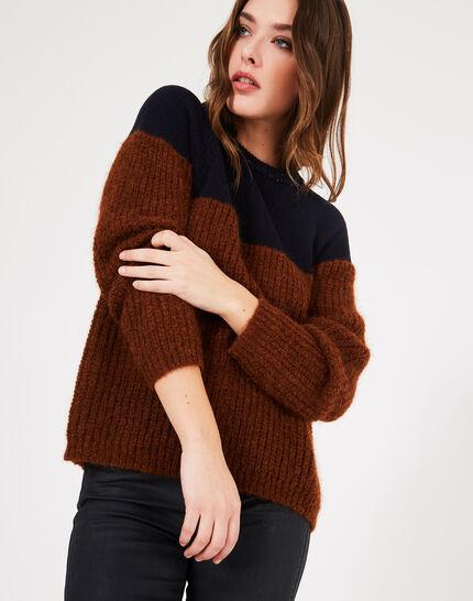 Zweifarbiger Pullover aus Alpaka und Kaschmir Praline (2) - 1-2-3
