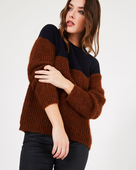 Praline two-tone alpaca wool and cashmere sweater (2) - 1-2-3