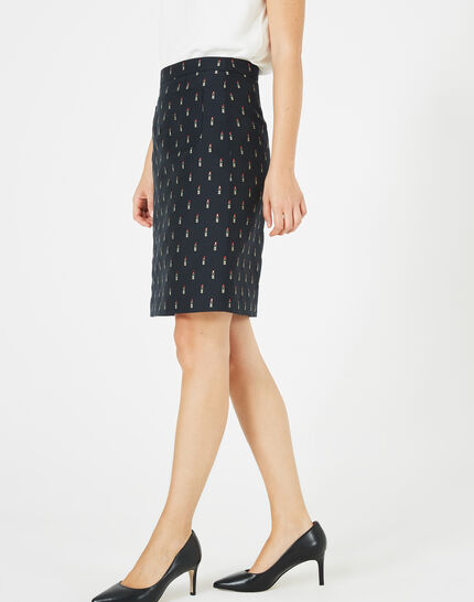 Ficelle navy blue skirt with lipstick print (2) - 1-2-3