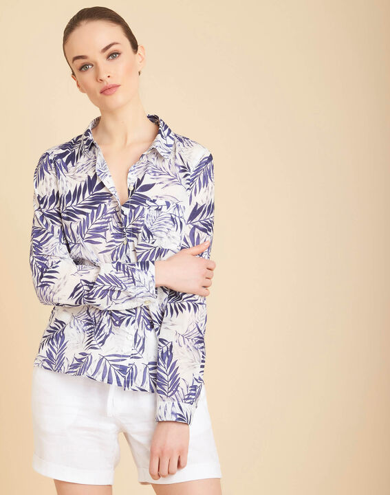 Ravel blue palm printed shirt in cotton (3) - 1-2-3