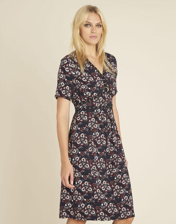 Dina navy blue printed dress with decorative neckline (1) - 1-2-3