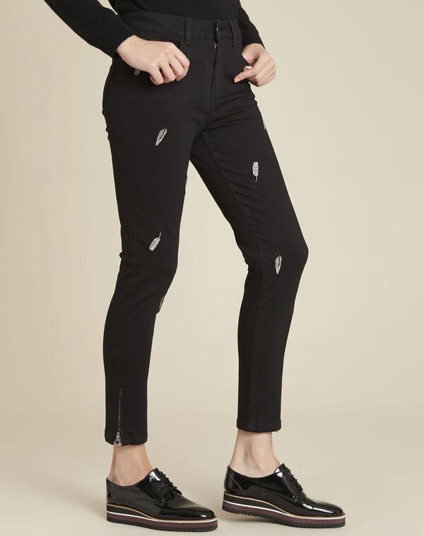 Zwarte slim-fit jeans met geborduurde pluimen Moon (1) - 37653