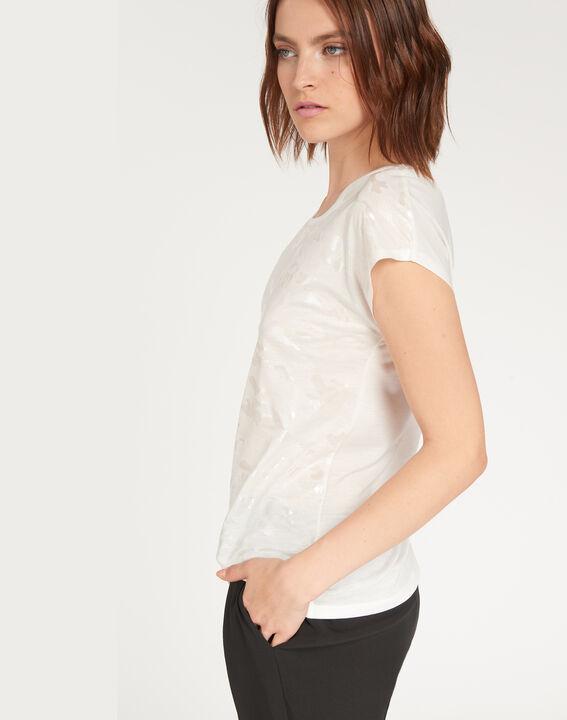 Ecrufarbenes T-Shirt mit Print Nicoleta (3) - 1-2-3