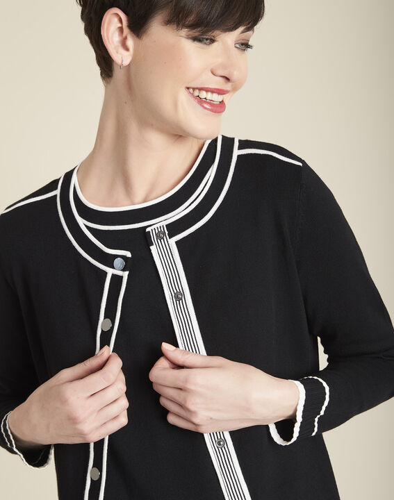 Schwarze Strickjacke mit kontrastierenden Bündchen Beauty (2) - 1-2-3
