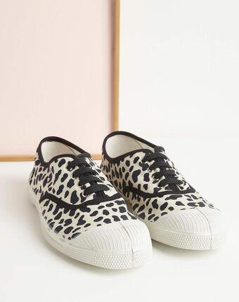 Kassandre cotton leopard print trainers black.